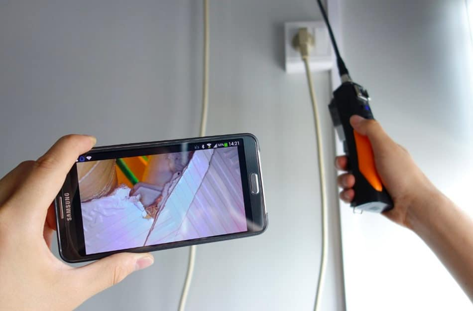 borescope for looking between walls and ceilings