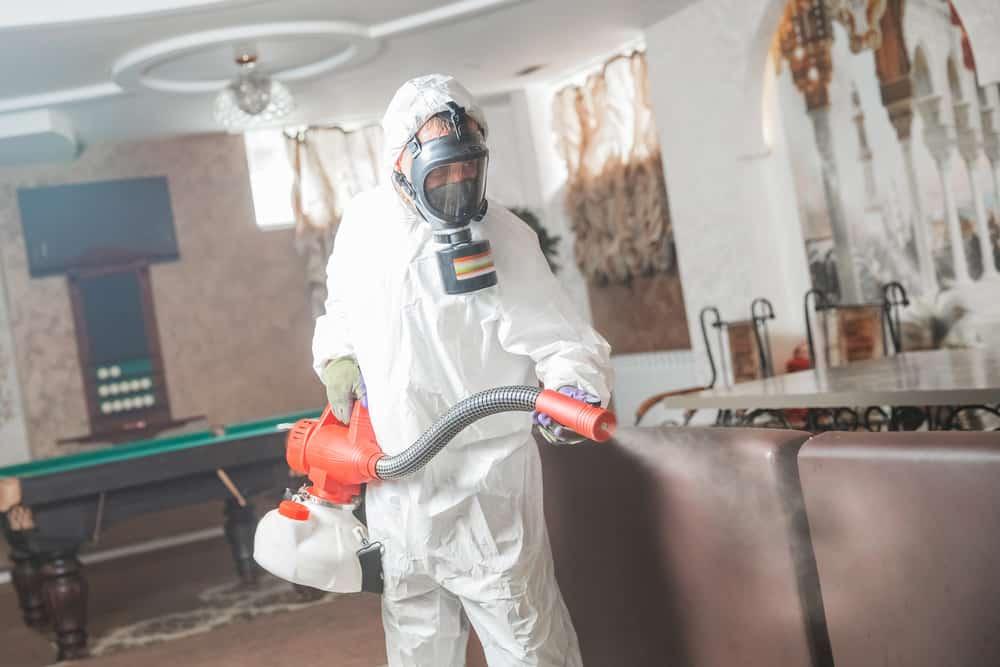 Pest control specialist in hazmat suit