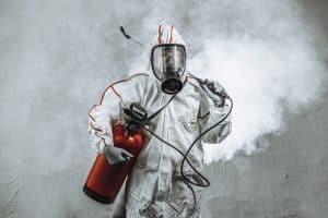 disinfections in hazmat suit